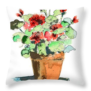 Potted Geraniums Throw Pillow by Arline Wagner