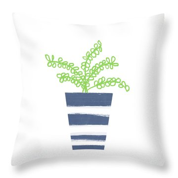 Throw Pillow featuring the mixed media Potted Plant 1- Art By Linda Woods by Linda Woods