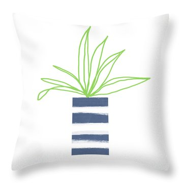 Throw Pillow featuring the mixed media Potted Plant 2- Art By Linda Woods by Linda Woods