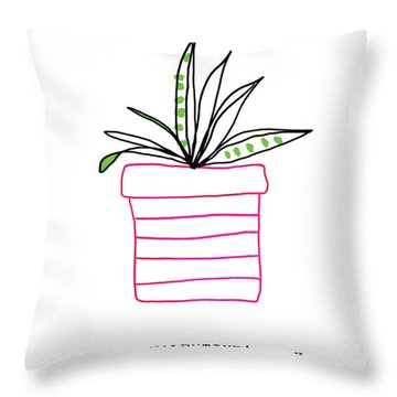 Potted Plant Valentine- Art By Linda Woods Throw Pillow