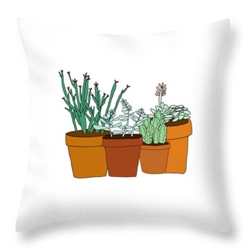 Potted Succulents Throw Pillow by Priscilla Wolfe