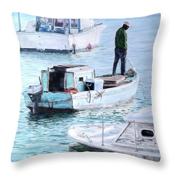 Potter's Cay Blues Throw Pillow