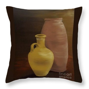 Throw Pillow featuring the painting Pottery by Annemeet Hasidi- van der Leij