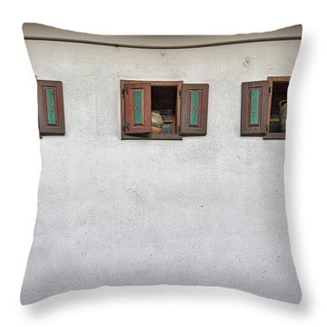 Throw Pillow featuring the photograph Pottery In The Windows - Slovenia by Stuart Litoff