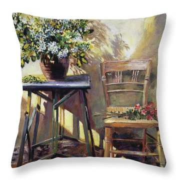 Pottery Maker's Table Throw Pillow