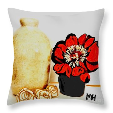 Throw Pillow featuring the painting Pottery Peony Roses by Marsha Heiken