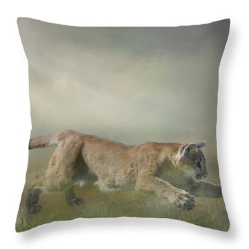 Pouncing Puma Throw Pillow