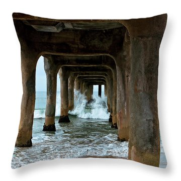 Pounded Pier Throw Pillow by Lorraine Devon Wilke
