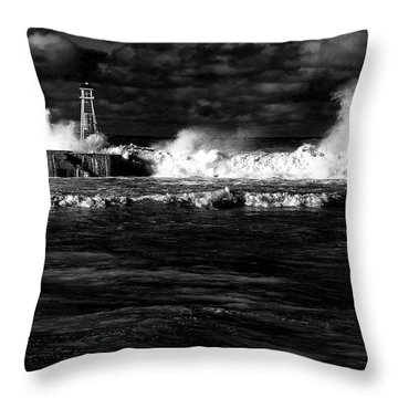 Throw Pillow featuring the photograph Pounding The Breakwater by Nareeta Martin