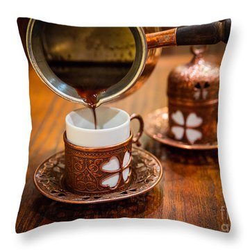 Poured Turkish Coffee Throw Pillow