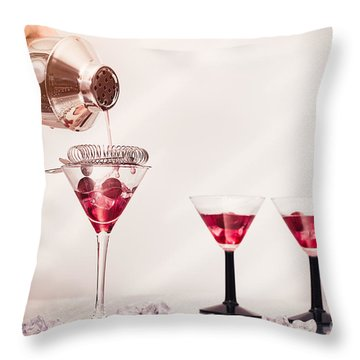 Pouring A Cocktail Throw Pillow