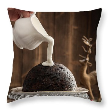 Pouring Cream Over Christmas Pudding Throw Pillow