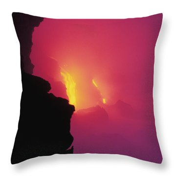 Pouring Lava Throw Pillow by William Waterfall - Printscapes