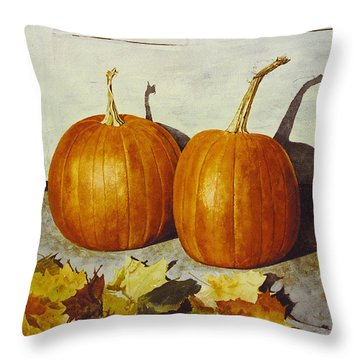 Povec's Pumpkins Throw Pillow