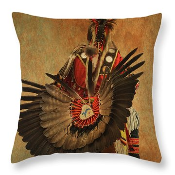 Throw Pillow featuring the mixed media Pow Wow 2 by Jim  Hatch