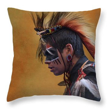 Throw Pillow featuring the mixed media Pow Wow by Jim  Hatch