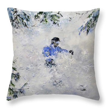 Throw Pillow featuring the painting Powder Hound by Ken Ahlering