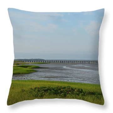 Powder Point Bridge In Duxbury  Throw Pillow