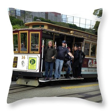 Powell And Market Street Trolley Throw Pillow by Steven Spak