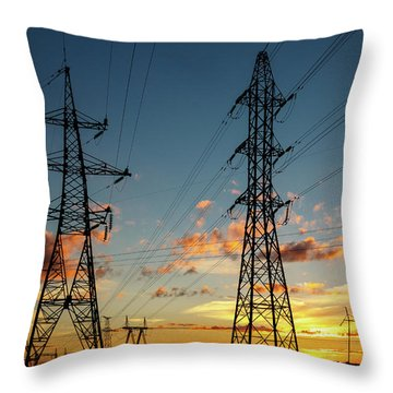 Power Cables Throw Pillow