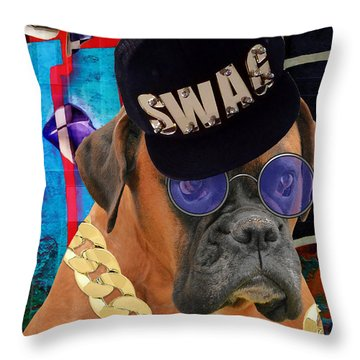 Throw Pillow featuring the mixed media Power Elite by Marvin Blaine