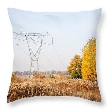 Power Grid Pylon Or Electric Power Transmission  Throw Pillow