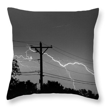 Power Lines Bw Fine Art Photo Print Throw Pillow