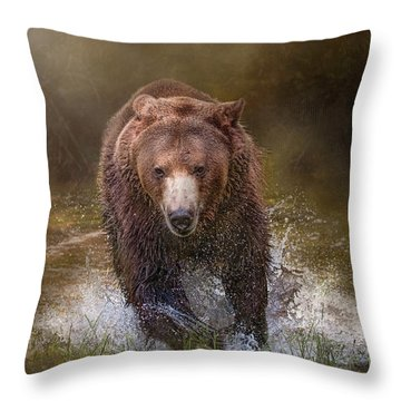 Power Of The Grizzly Throw Pillow