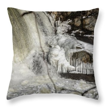 Power Station Falls On Black River  Throw Pillow