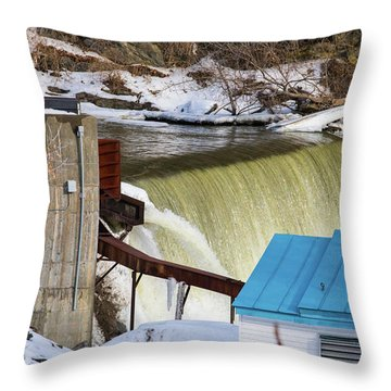 Power Station Falls On Black River Two Throw Pillow