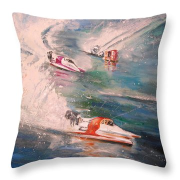 Powerboat Racing In Portugal Throw Pillow