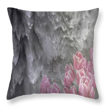Powerful And Gentle Waterfall Art  Throw Pillow by Valerie Garner