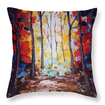 Throw Pillow featuring the painting Powerful Yellow by Ray Khalife