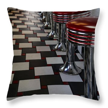 Power's Diner Port Huron Throw Pillow by Mary Bedy