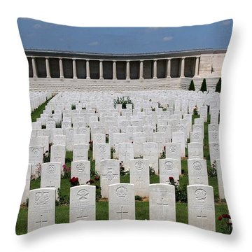 Pozieres British Cemetery Throw Pillow by Travel Pics