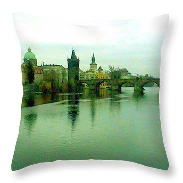 Prague  1 Jgibney 2000 City Bridge 2010 Throw Pillow by  jGibney