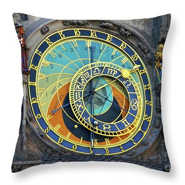 Prague Astronomical Clock Throw Pillow by Mariola Bitner