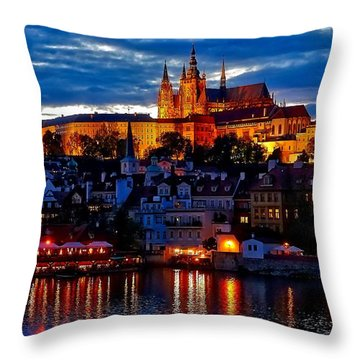 Prague Castle In The Evening Throw Pillow