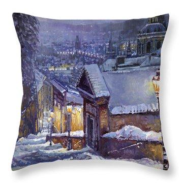 Prague Castle Steps Winter   Throw Pillow by Yuriy Shevchuk