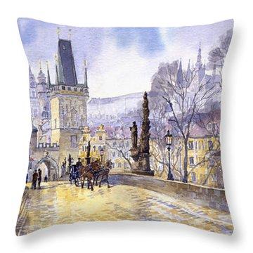 Prague Charles Bridge Mala Strana  Throw Pillow by Yuriy  Shevchuk