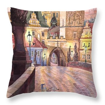 Prague Charles Bridge Night Light 1 Throw Pillow by Yuriy  Shevchuk