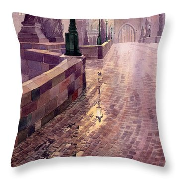 Prague Charles Bridge Night Light Throw Pillow by Yuriy  Shevchuk