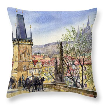 Prague Charles Bridge Spring Throw Pillow