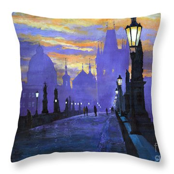 Prague Charles Bridge Sunrise Throw Pillow