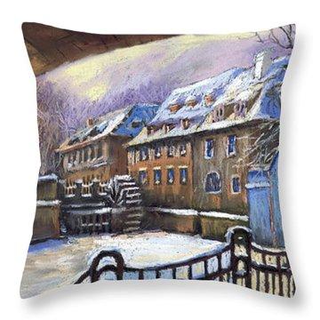 Prague Chertovka Winter 01 Throw Pillow by Yuriy  Shevchuk