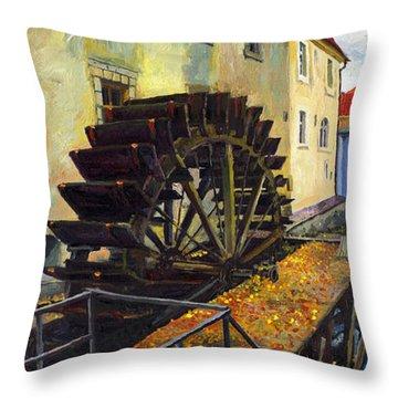 Prague Chertovka Throw Pillow by Yuriy  Shevchuk
