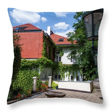 Throw Pillow featuring the photograph Prague Courtyards. Old Lantern by Jenny Rainbow