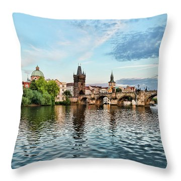 Prague From The River Throw Pillow