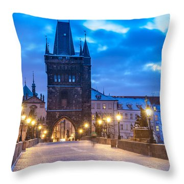 Prague In Blue Throw Pillow