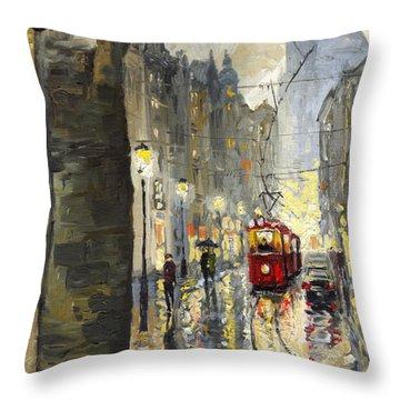 Prague Mostecka Street Throw Pillow by Yuriy  Shevchuk